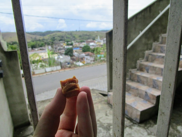 Dried jackfruit cube in front of the cityscape of Palmares, Brazil