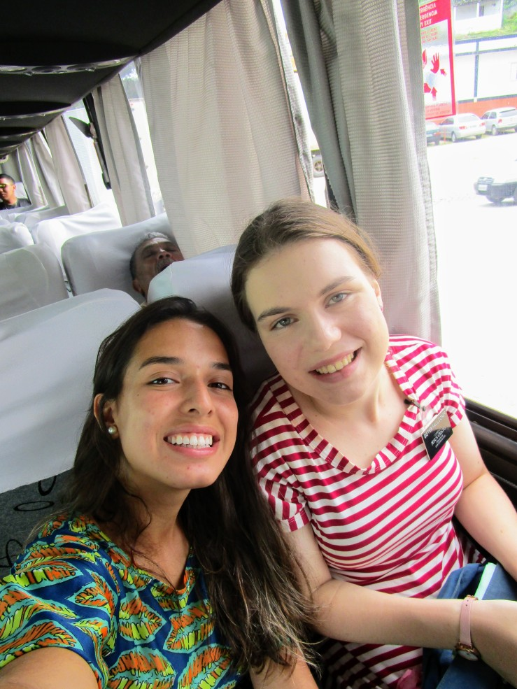A sister training leader and Sister Faulconer, two sister missionaries sitting on a bus bound for Guarahuns