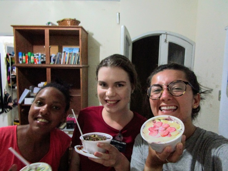 Sister missionaries for the Church of Jesus Christ of Latter-day Saints eating acai bowls.